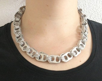 pop tabs and chainmaille necklace, 20 inch , upcycled necklace, recycled necklace, pop tab necklace, soda tab necklace