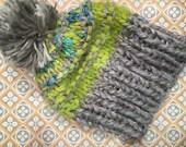 Wool Hat with pompom, Grey Knit Hat, Slouchy Hat, Warm Winter Hat, Crochet Hat Striped, Knit Slouchy Beanie, Pompom Hat, electric Green hat