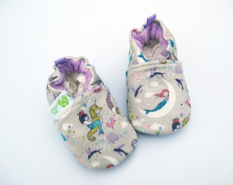 Organic Knits Vegan Mermaids in Lavender / All Fabric Soft Sole Baby Shoes / Babies