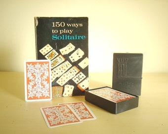 Vintage Kem standard playing card set & Solitaire guidebook, 1940 plastic box set, mid-century book 150 Ways to Play Solitaire, gift for men