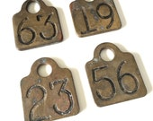 Choice - Heavy Brass Cow Tag Number 63 19 23 56  Wisconsin Farm Find