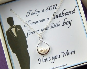 Mother Of The Groom Gift - Gift Boxed Jewelry -  Thank You Gift - Wedding gift for Mother in Law- 2 Peas in a Pod Necklace