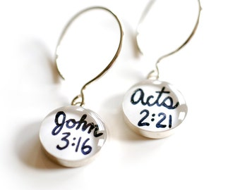 John 3:16 bible verse earrings , Christian resin jewelry , black and white scripture earrings, share your faith earrings with the gospel