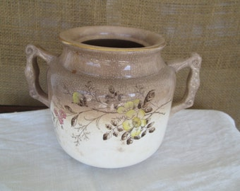 White Ironstone Distressed Sugar Bowl Tan Brown China Simply White Decorating Farmhouse Farm House, Country Cottage Chic