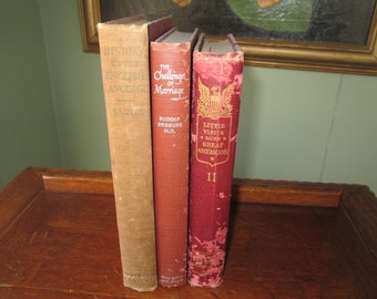 Faded Red Book Bundle,Shades of Wine Book Stack, Shades of Burgundy, Book Bundle of 3, Old Books, Decorative Books