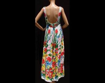 Vintage 1960s Linen Dress - Low Back - Floral Print - M