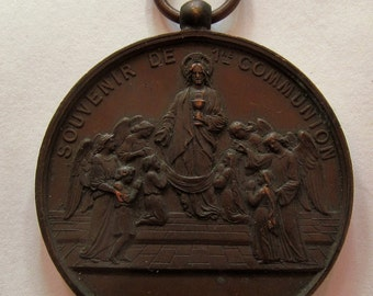 Jesus With Angels Antique Bronze Religious Medal French Communion Pendant   SS-204