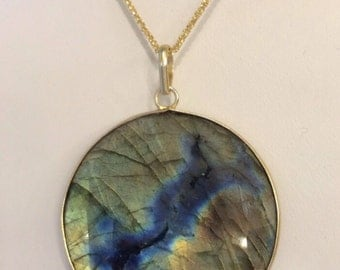 Large Labradorite Round Gold Bezel Necklace