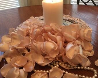 Champagne Colored Satin Rose Petals