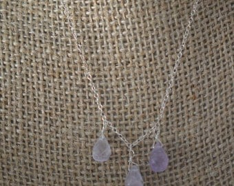 Three beautiful Amethyst teardrop stones on Sterling silver chain. Handmade, wire wrapped, natural gemstone, simple, February birthstone.