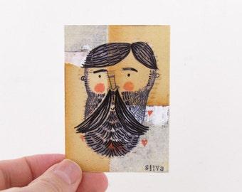 Burly Lumberjack Artist Trading Card - Handsome Lumberjack Art Print - ACEO, Artist Trading Cards