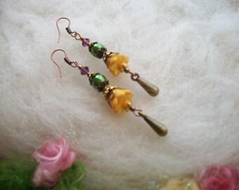 Dainty Boho Hippie Boho Hippie Flower Earrings, Golden Harvest Lucite Beaded Dangle Earrings, Bell Flower with Glass Beads and Copper