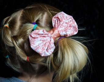 Hair Bow - Peach Print Bubble Bow Girls Hair Bow, Baby Hair Bow
