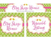 Etsy Shop Banners - Etsy Banners - Cute Etsy Banners - Bird Etsy Banners - Flower Etsy Banner -  Etsy Banner Sets - Birdie and Blossoms