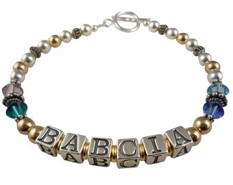 A custom bracelet with your Mother or Grandma's personalization. 14k gold, silver & crystal. Choose any size, number of strands and names