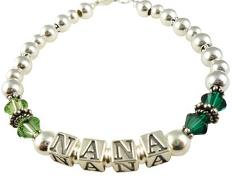 Green crystal Nana or Grandma Bracelet - choose birthstones or her favorite colors and any size