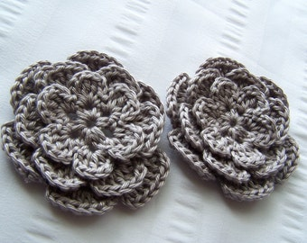Crochet flower 3 inch pima cotton gray motif set of 2