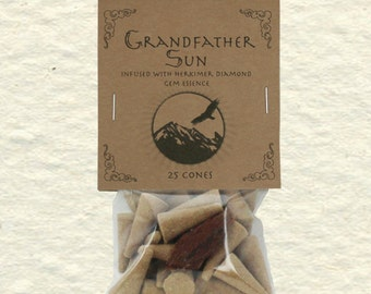 Grandfather Sun Blend Incense Cones with Herkimer Diamond, Palo Santo, Copal, Frankincense, Sandalwood