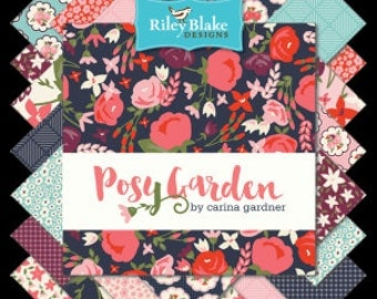 """Posy Garden 42pc 5"""" Squares Bundle by Riley Blake 100% cotton fabric for quilting"""