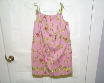 Pink and green flowered pillowcase dress ,size 8
