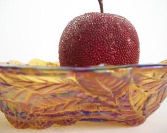 Indiana Glass Dish, Amber Glass Dish, Carnival Glass Dish, Loganberry Dish, Depression Glass Bowl, Candy Dish, Candy Bowl