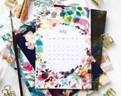 2017 calendar + gold midori clip - trendy art watercolor