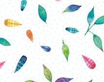 Feather Fabric Tossed Print Brights Rainbow Woodland by Red Rooster 100% Cotton By The Yard Nature White Fabric