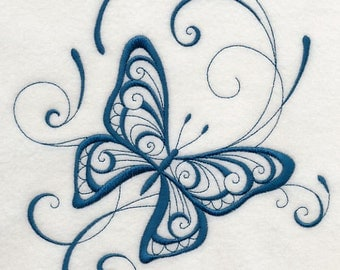 INKY BUTTERFLY DELIGHT - Machine Embroidered Quilt Blocks(AzEB)