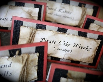 PIRATE-themed Food tents...Menu Cards...Place Cards...Food Signs - Set of 4