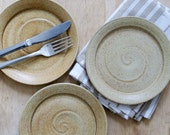 Set of three stoneware side plates - glazed in natural brown