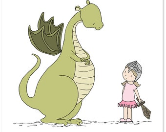 Dragon Nursery Art -- Girl Meets Dragon -- Dragon Art Print -- Children's Art Print, Kids Wall Art