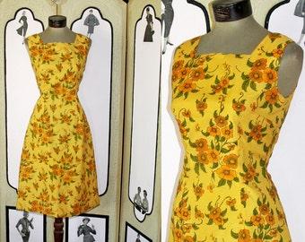 Vintage 1960's Golden Floral Summer Dress. Small-Medium.