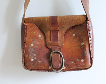 70s Tooled Leather Purse Painted Flowers Large Leather BOHO Purse Cross Body Brown Purse Leatherwork Handcrafted Hand Tooled Leather Purse