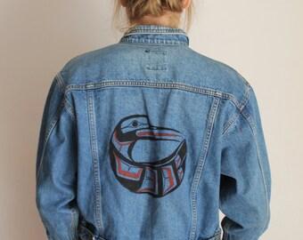 Jean Jacket, LEE Jean Jacket, Custom Art, First Nations Hummingbird,  Native American Art, PNW Oversized Jean Jacket, Vintage Jean Jacket