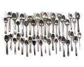 Set of 40 Silver Plate Scrap Spoons • Craft Supplies