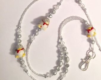 Silver and Crystal Glass Beaded Penguin Lanyard