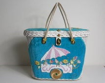 1950 Vintage Amazing Midas of Miami Straw Basket Box Purse with Sweet Flower Cart Design Excellent