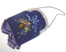 1900's 1920's Lg Multi Colored Floral Basket Design Beaded Purse Silver Plate Frame