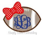 Football Bow Machine Embroidery Applique Design