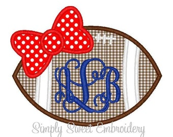 Football Bow Machine Embroidery Applique Design