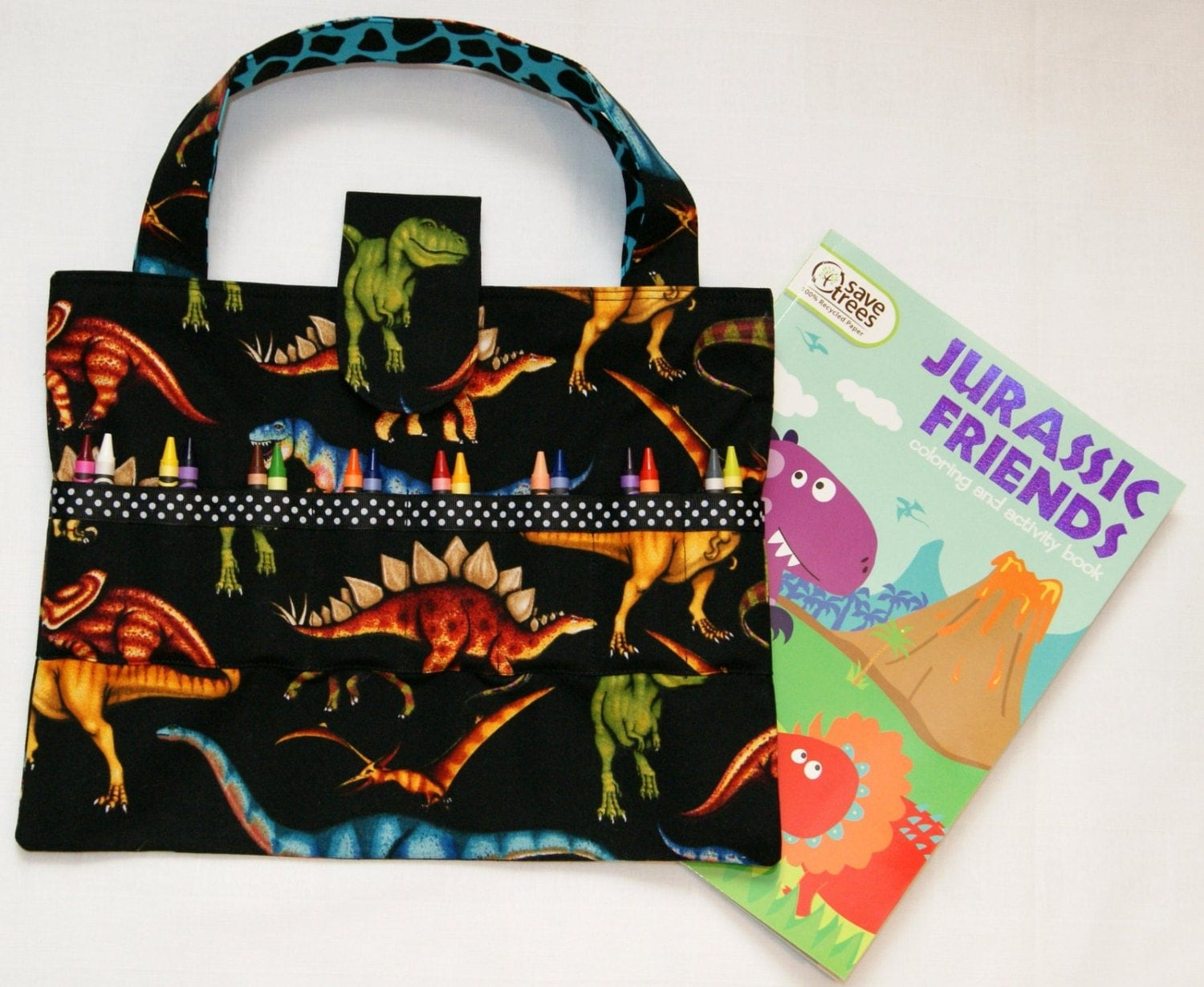 Dinosaurs crayon holder coloring book and crayon tote for Arts and crafts tote bags
