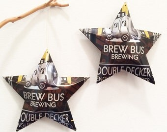 Brew Bus Brewing Double Decker English-Style Porter Beer Stars, Ornaments, Aluminum Can, Upcycled