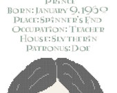 Severus Snape Biographical Facts Cross Stitch Pattern PDF