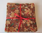 Gingerbread Men Coasters reversible 4 Candy Cane Mug Rugs Gingerbread Men Mug Rugs Green and Red Christmas Coasters Stocking Stuffer for Mom