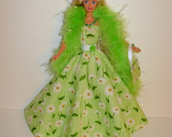 Handmade barbie clothes Beautiful gown with boa necklace bracelet bag 4 barbie doll