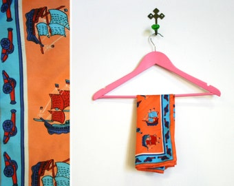 Vintage 1960s Blue, Orange and Red Pirate Ship and Cannon Printed Square Scarf