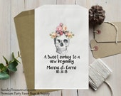 Qty 10 WEDDING Candy Buffet Party Favor Bags / A Sweet Ending to a new Beginning / Skull Roses Gothic / Personalized 3 Day Ship