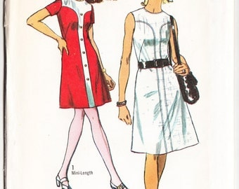 Vintage 1970 Simplicity 9207 UNCUT Sewing Pattern Misses' Dress in Two Lengths Size 12 Bust 34