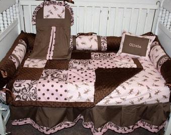 Sock Monkey Crib bedding- free personalized pillow
