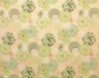 Yuwa Vintage Inspired Doily Print  Green  Cotton Fabric AT826213C